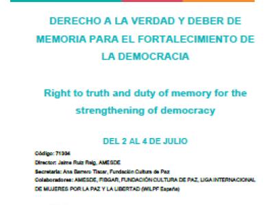 """Curso de verano """"Derecho a la verdad y deber de memoria para el fortalecimiento de la democracia"""""""