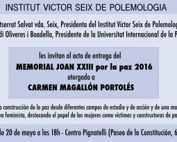 Acto de Entrega del Memorial Joan XXIII por la Paz 2016 otorgado a Carmen Magallón
