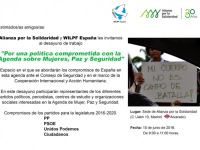 """Encuentro con los partidos políticos """"Por una política comprometida con la Agenda sobre Mujeres, Paz y Seguridad"""""""